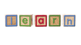 La parola impara costruito da Play il Blocks Fotografia Stock Libera da Diritti