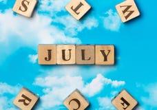 La parola luglio Fotografie Stock