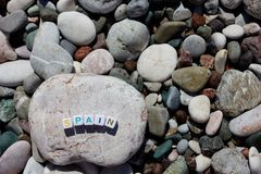 La parola Spagna sui ciottoli Fotografie Stock