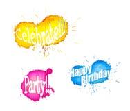 La parola Splats di lerciume a colori celebra le sovrapposizioni di compleanno del partito Fotografia Stock