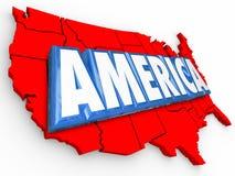 La parola Stati Uniti dell'America 3d traccia il fondo blu bianco rosso di U.S.A. Immagini Stock