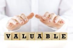 La parola - Valuable- sui cubi di legno Fotografie Stock Libere da Diritti