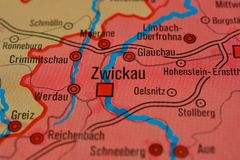 La parola ZWICKAU sulla mappa Immagine Stock