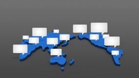 La parole bouillonne graphique de mouvement d'animation sur la carte du monde, la terre illustration stock