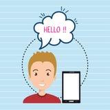 la parole de bulle de smartphone d'homme illustration stock