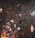 La parrilla de la caldera con las briquetas calientes y el coste planchan el vuelo de la rejilla en el aire imágenes de archivo libres de regalías