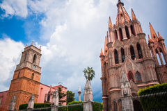 La Parroquia, the famous pink church in the picturesque town of Stock Photos