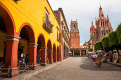 La Parroquia, the famous pink church in the picturesque town of Stock Images