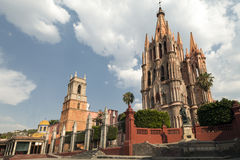 La Parroquia of San Miguel de Allende. La Parroquia de San Miguel Arcángel and Templo de San Rafael on the main square of San Miguel de Allende in Mexico Stock Images
