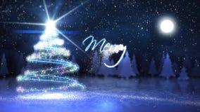 La partícula de la Feliz Navidad escribe con volar Papá Noel stock de ilustración