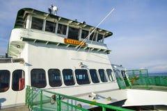 La parte anteriore del traghetto, un giro da Mukilteo all'isola di Whidbey su bello Sunny Winter Morning su una nave d'annata Fotografia Stock