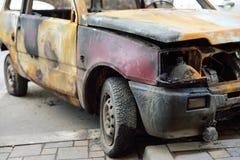 La parte anteriore della vettura compact bruciata Immagini Stock Libere da Diritti