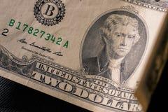 La parte anteriore di una banconota da due dollari, fotografia stock libera da diritti