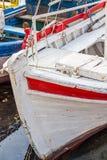 La parte anteriore di vecchio peschereccio al porto di Sozopol, Bulgaria Fotografie Stock Libere da Diritti