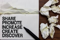 La parte de la escritura del texto de la escritura promueve aumento crea descubre Marcador de la motivación de la inspiración del fotos de archivo
