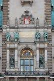 La parte de la fachada ayuntamiento (Rathaus) Hamburgo Fotos de archivo libres de regalías