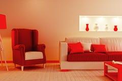 La parte de la sala de estar en rojo y blanco colorea la Navidad de imitación Imagenes de archivo