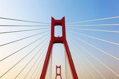 La parte del ponte di cavo Fotografia Stock