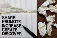 La parte di scrittura del testo della scrittura promuove l'aumento crea scopre Indicatore di motivazione di ispirazione di vendit fotografie stock
