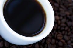 Caffè nero e fagioli Fotografia Stock