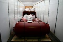 La parte interna del rimorchio della carrozza che mostra il suo carico caricato. Fotografia Stock Libera da Diritti