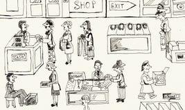 La parte interna di un negozio dei vestiti Fotografie Stock Libere da Diritti