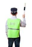 La parte posterior del muchacho joven vestida como policía Fotografía de archivo libre de regalías
