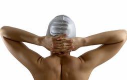 La parte posterior del nadador de sexo femenino en estudio Foto de archivo libre de regalías
