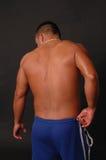 La parte posteriore del maschio in azzurro suda Immagini Stock Libere da Diritti