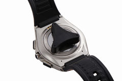 La parte posteriore dell'orologio astuto con l'apri, isolata su bianco Fotografie Stock Libere da Diritti