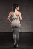 La parte posteriore delle donne su addestramento, ragazza di sport di forma fisica con l'ente muscolare, fa il suo allenamento Fotografie Stock Libere da Diritti
