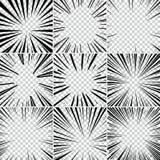 La parte radial blanco y negro del estilo del arte pop del super héroe del cómic alinea el fondo Manga o marco de la velocidad de stock de ilustración