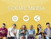 La parte social de Media Communication conecta concepto imagen de archivo libre de regalías