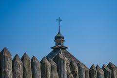 La parte superiore della chiesa di Zaporizhzhya Sich fotografia stock