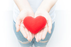 La participation de femme et la protection donnent une forme rouge de coeur sur le plan rapproché blanc de fond Photo stock