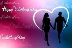 La participation heureuse colorée de silhouette de Valentine Day Background With Couple remet la forme de coeur Images stock