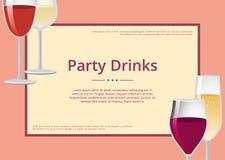 La partie boit le vin rouge et le Champagne Glasses Set illustration stock