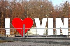 La partie d'AMOUR VINNYTSIA au centre de la ville, Vinnytsia du signe I Image stock