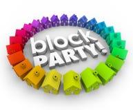 La partie de bloc loge l'événement de célébration de la Communauté de voisinage Image stock