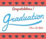 La partie de calibre de vecteur d'obtention du diplôme, Congrats, célèbrent, lycée Ensemble d'université Célébration du finissage illustration libre de droits