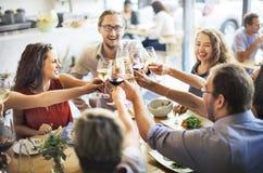 La partie de nourriture de repas célèbrent le concept d'événement de restaurant de café photos stock