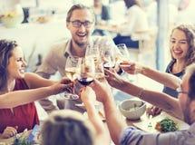La partie de nourriture de repas célèbrent le concept d'événement de restaurant de café Photographie stock