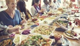 La partie de nourriture de repas célèbrent le concept d'événement de restaurant de café Image libre de droits