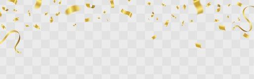 La partie de vecteur monte en ballon l'illustration Ri de drapeau de confettis et de rubans illustration libre de droits