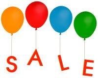 La partie de vente monte en ballon - la publicité etc., fond blanc Photographie stock