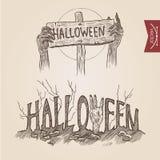 La partie de zombi de Halloween remet à des affiches le style tiré par la main de gravure illustration stock