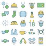 La partie et la célébration rayent et remplissent les icônes d'isolement de vecteur illustration stock