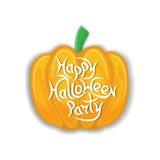 La partie heureuse de Halloween de message sur les potirons de fond OIN Image stock