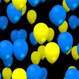La partie jaune bleue monte en ballon le modèle sans couture sur le fond noir Photographie stock