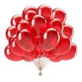 La partie rouge d'anniversaire monte en ballon le groupe décoration de joyeux anniversaire brillante illustration libre de droits